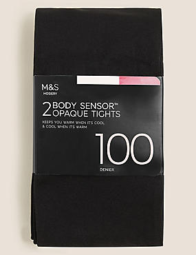 2 Pair Pack 100 Denier Body Sensor™ Tights, BLACK, catlanding