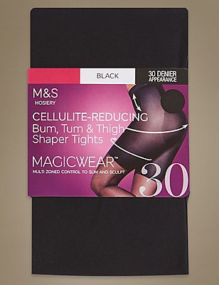 30 Denier Magicwear™ Secret Slimming™ Cellulite Reducing Tights, BLACK, catlanding