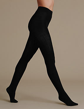 100 Denier Wool Rich Thermal Opaque Tights, BLACK, catlanding