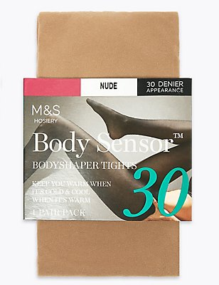 30 Denier Body Sensor™ Opaque Tights, NUDE, catlanding