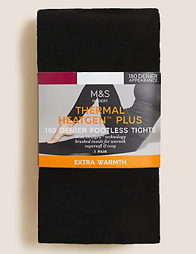 180 Denier Heatgen™ Plus Brushed Thermal Opaque Tights, BLACK, catlanding