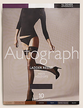 10 Denier Ladder Resist Matt Hold-Ups 1 Pair Pack, NEARLY BLACK, catlanding