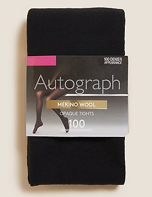 100 Denier Merino Wool Blend Opaque Tights , BLACK, catlanding