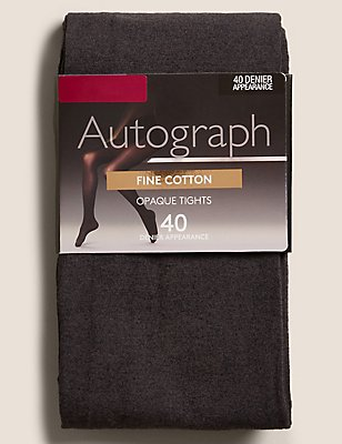 40 Denier Fine Cotton Tights , CHARCOAL, catlanding