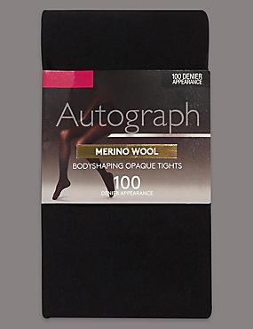 100 Denier Merino Wool Opaque Bodyshaper Tights 1 Pair Pack, BLACK, catlanding