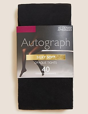 40 Denier Body Sensor™ Silky Soft Opaque Tights , BLACK, catlanding