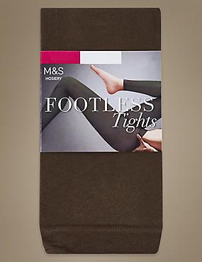 60 Denier Cotton Rich Opaque Footless Tights, KHAKI, catlanding