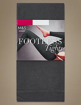 60 Denier Cotton Rich Opaque Footless Tights, DARK GREY, catlanding