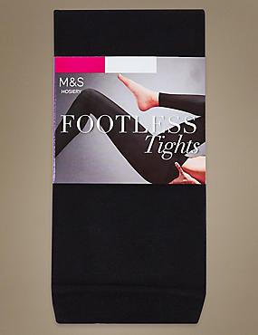60 Denier Cotton Rich Opaque Footless Tights, BLACK, catlanding