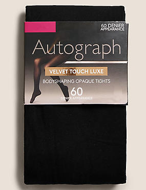 60 Denier Luxury Velvet Touch Secret Slimming™ Opaque Body Shaper Tights , BLACK, catlanding