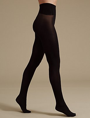 40 Denier Velvet Touch Seamfree Opaque Tights , BLACK, catlanding