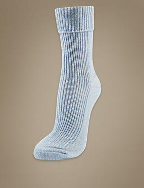 Luxury Pure Cashmere Heavyweight Ankle Socks, BLUE MIX, catlanding