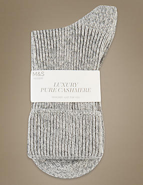 Luxury Pure Cashmere Heavyweight Ankle Socks, GREY MIX, catlanding