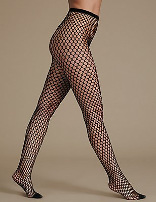 Fish  Net Tights, BLACK, catlanding