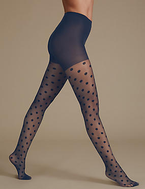 Sheer Spotted Tights, NAVY, catlanding