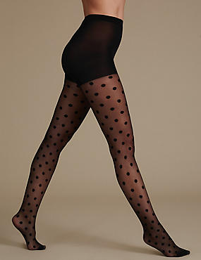 Sheer Spotted Tights, BLACK, catlanding