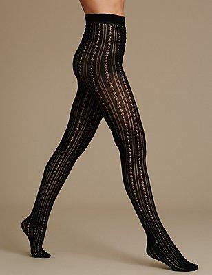 Striped Tights, BLACK, catlanding