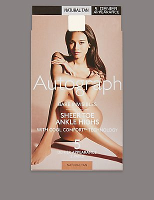2 Pair Pack 5 Denier Bare Invisibles Ankle Highs, NATURAL TAN, catlanding