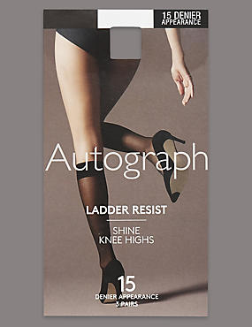 3 Pair Pack 15 Denier Ladder Resist Shine Knee Highs with Silver Technology, BLACK, catlanding