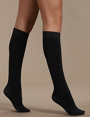 180 Denier Heatgen™ Thermal Knee Highs, BLACK, catlanding