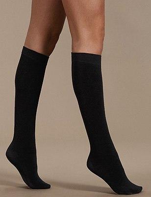 180 Denier Heatgen™ Thermal Knee Highs, BLACK, catlanding