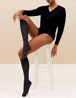 3 Pair Pack Opaque Knee Highs , BLACK, catlanding