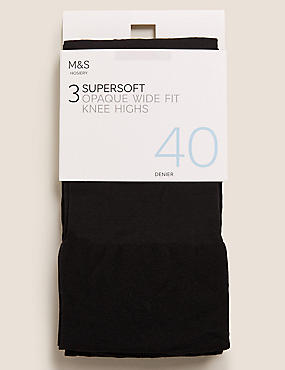 3 Pair Pack Opaque Knee Highs , BLACK, catlanding