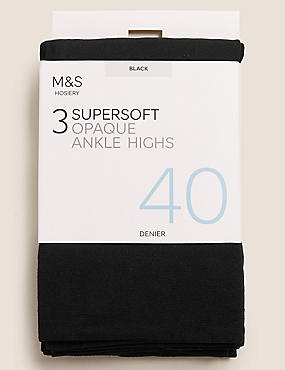 3 Pair Pack 40 Denier Opaque Ankle Highs Super Soft, BLACK, catlanding