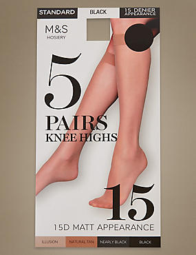 5 Pair Pack 15 Denier Matt Knee Highs, BLACK, catlanding