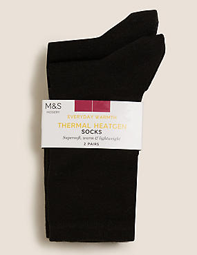 2 Pair Pack Heatgen™ Ankle High Socks, BLACK, catlanding