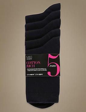 Ankle High Socks 5 Pair Pack, NAVY, catlanding