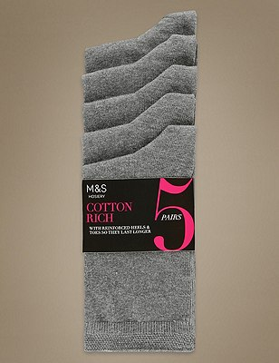 Ankle High Socks 5 Pair Pack, GREY, catlanding