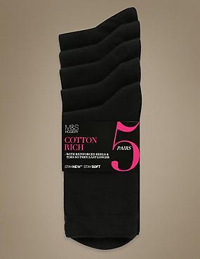 Ankle High Socks 5 Pair Pack, BLACK, catlanding