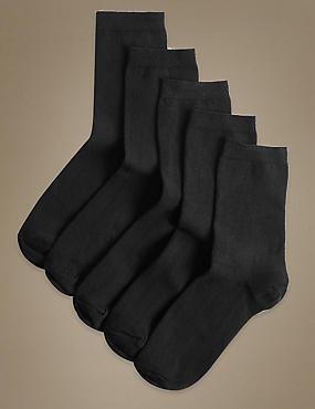 5 Pair Pack Cotton Rich Ankle High Socks, BLACK, catlanding
