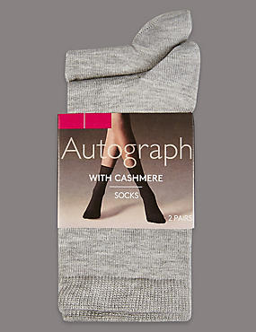 2 Pair Pack Cashmere Blend Ankle High Socks, GREY, catlanding