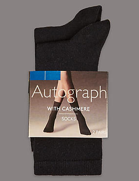 2 Pair Pack Cashmere Blend Ankle High Socks, BLACK, catlanding