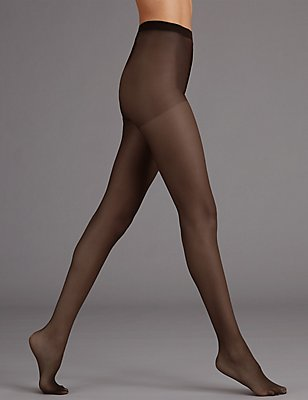 7 Denier Cool Comfort™ Ladder Resist Bare Cooling Body Shaper Tights , COCOA, catlanding