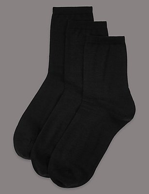 3 Pair Pack Merino Wool Rich Ankle High Socks, BLACK, catlanding