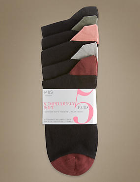 5 Pairs of Freshfeet™ Super Soft Socks with Silver Technology, BLACK MIX, catlanding