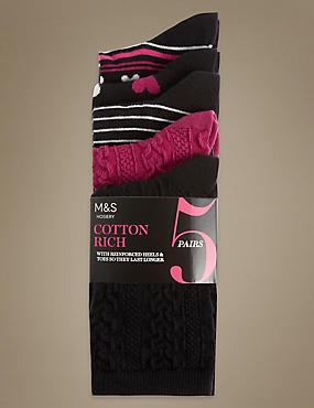 Cotton Rich Assorted Socks 5 Pair Pack, BLACK MIX, catlanding