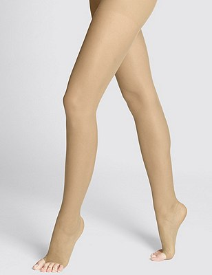 7 Denier Cool Comfort™ Ladder Resist Sheer Open Toe Tights 1 Pair Pack, NUDE, catlanding