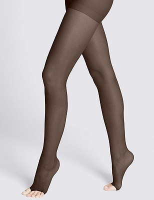 7 Denier Cool Comfort™ Ladder Resist Sheer Open Toe Tights 1 Pair Pack, COCOA, catlanding