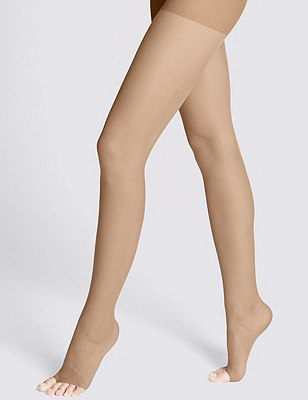 7 Denier Cool Comfort™ Ladder Resist Sheer Open Toe Tights 1 Pair Pack, NATURAL TAN, catlanding