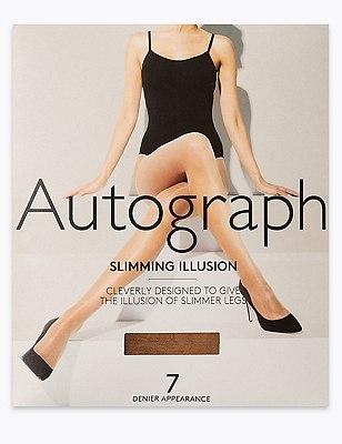 7 Denier Cool Comfort™ Slimming Illusion Sheer Tights 1 Pair Pack, SUNTAN, catlanding