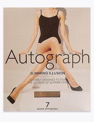 7 Denier Cool Comfort™ Slimming Illusion Sheer Tights 1 Pair Pack, NATURAL TAN, catlanding