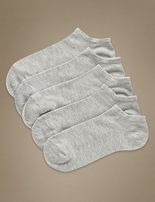 Supersoft Trainer Liner™ Socks 5 Pair Pack, GREY MARL, catlanding