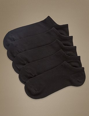 Supersoft Trainer Liner™ Socks 5 Pair Pack, BLACK, catlanding