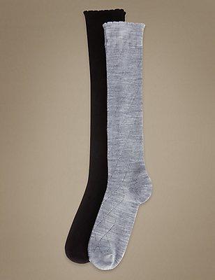 2 Pair Pack Knee High Socks with Silver Technology, GREY MIX, catlanding