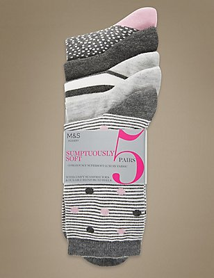 5 Pair Pack Supersoft Ankle Socks , PINK MIX, catlanding