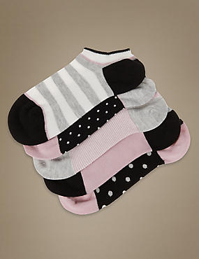 5 Pair Pack  Supersoft Spotted Striped Trainer Liner Socks with Silver Technology, BLACK MIX, catlanding